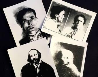 Trading Cards, Joe Hill, Mikhail Bakunin, Peter Kropotkin, Emma Goldman, IWW, Anarchist, Socialist, Equal Rights,Artist Trading Cards,Crapco