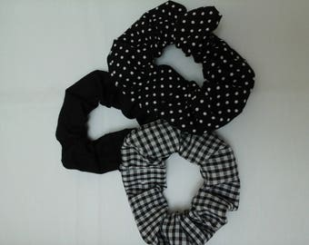 Hair scrunchies, pack of 3, monochrome, black and white, cotton fabric, hair accessory, polka dot, scrunchie,