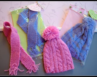 Set of scarf and cap//clothing for Blythe//clothes for Blythe