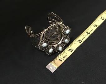 Silver etched cuff bracelet