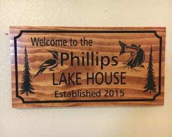 Woodpecker CatfishLake House Signs Cottage Rustic Cabin Welcome Signs Pine Tree Pine cone Primitive wood carved Sign Wooden Carved Cabin dk