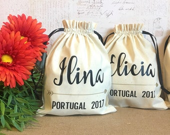 Personalized Gift Bag - Party Favors, Bridal Shower, Bridesmaid, Wedding, Birthday, Travel, Bachelorette, Thank you-Drawstring Cotton Pouch