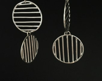 Lines and Shapes dangly earrings, Sterling Silver Circles