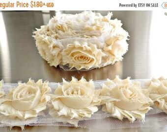 30% OFF DARK CREAM Chiffon Flowers 1/2 Yard or 1 Yard Shabby Flower Trim Frayed Flowers Chic Rosettes Rosette Trim Flowers Shabby Rose Flowe