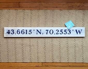 Portland, ME Latitude/Longitude Navigational Handpainted sign