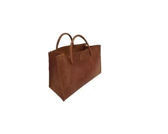 """Leather bag funny-easter egg bag shopping bag small """"transporter"""" vintage design used look handmade"""