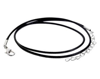 NECKLACE with leather 2 mm black metal clasp