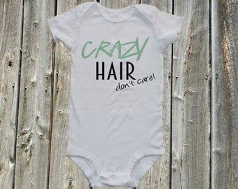 Funny baby onesie, funny baby bodysuit one-piece - Crazy Hair dont care one-piece bodysuit onesie shirt