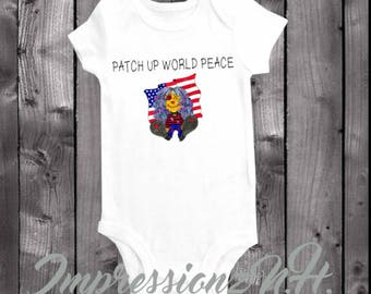 Peace baby onesie - Patriotic baby, peace baby bodysuit,  one-piece shirt  - World Peace