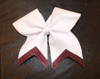 White and Maroon Cheer bow