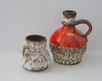 2 great vases by Jopeko - Paris -  West German Pottery - Fat Lava WGP No. 612/20 and 7201/14?
