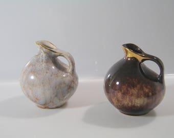 2 Cute little vases by VEB Haldensleben East German Pottery - Fat Lava - mid century