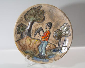 Fantastic Ruscha wall plate,  Fat Lava, West German Pottery, WGP, harvest motif
