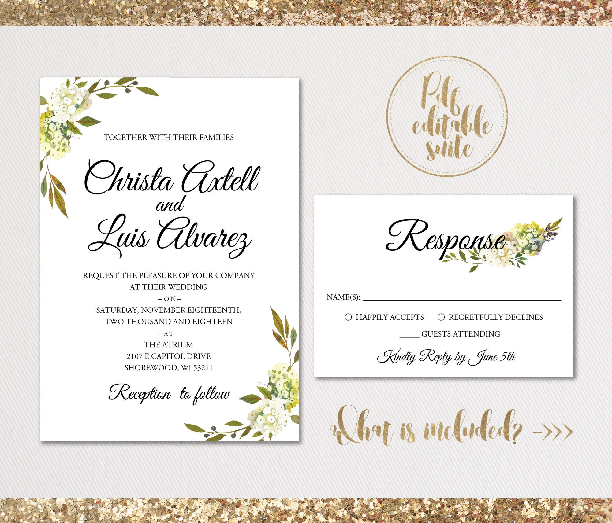 Wedding invitation template . Printable Wedding Invitation . Wedding ...