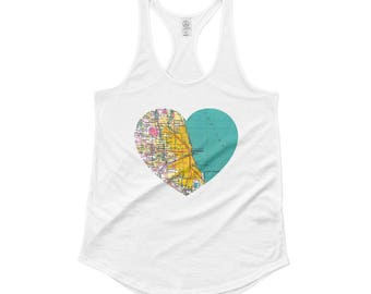 Chicago Heart Map - Ladies' Shirttail Tank