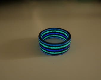 Carbon Fiber Ring With Three different(Purple,Green,Azure) glow in the dark colors 10 mm width