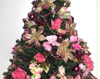 Romantic Christmas, tabletop Christmas Tree, Christmas Decoration, OOAK Christmas, Topiary Tree, Mini Christmas Tree, Home Decor, Handmade