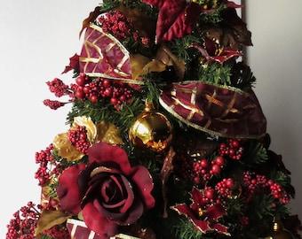 Holiday Elegance, tabletop Christmas Tree, Christmas Decoration, OOAK Christmas, Topiary Tree, Mini Christmas Tree, Home Decor, Handmade