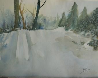 aquarelle sur papier paysage de montagne