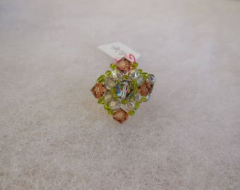 Made with Swarovski pearls beaded ring