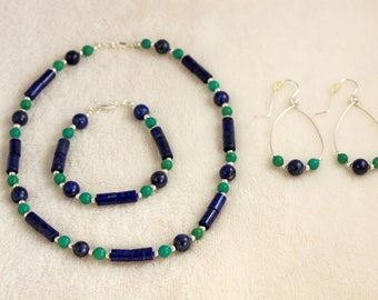Blue Lapis Tube and Turquoise Beaded Necklace, Bracelet & Earring Set