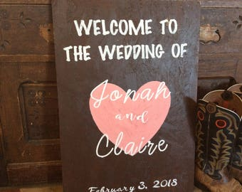Customized wedding sign, Handpainted Sign to greet your wedding guests with names of bride and groom with wedding date
