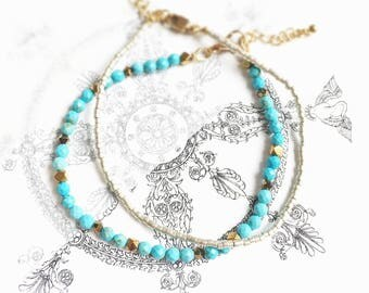 Set of 2 Bracelets summer natural stone Turquoise, Hematite and Miyuki beads