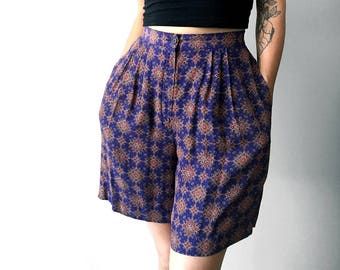 Vintage, 1980's, Blue, Patterned, Pleated, High-Waisted, Shorts with Pockets