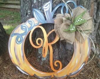 Monogram Initial Pumpkin Door Hanger