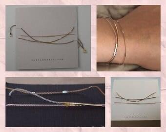 Minimalist Bracelet SET / Delicate String Bracelets / Silver Gold String Bracelets / Minimal Simple Thin Set / Layering Bracelets /