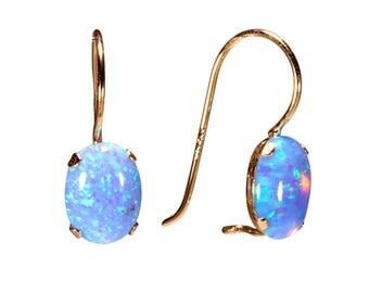 14K Yellow Gold Blue Opal Earrings - 14K Gold Earrings - Gold Drop Earrings - Opal Earrings - 14K Yellow Gold Earrings - Beautiful Oval