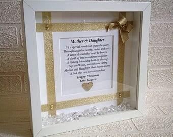 Mother daughter gift, keepsake gift frame, mother son gift, mom gift, Christmas gift, personalised for mum, daughter mother gift, 3D frame.