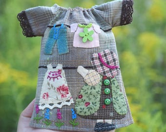 Blythe dress with  applique (Japanese patchwork)