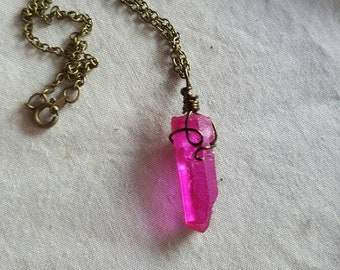 Pink Aura Quartz Necklace on antique brass colored chain // gift for her // collectable // jewellery