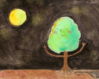 Illustration (Print) - The tree and the moon