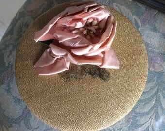 Vintage Powder Box with Silk Ribbon Work Flower, Fabric Top and Powder Puff with Silk Ribbon Work