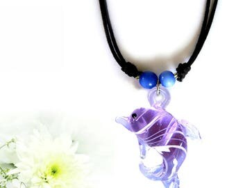 Beautiful necklace with dolphin, glass figurines, glass pendant,