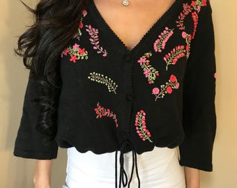 Black Hand Embroidered with roses cardigan sweater