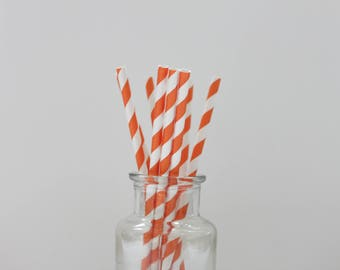 Paper Straws / Orange Straws / Orange Striped Straws / Striped Straws / Party Straws