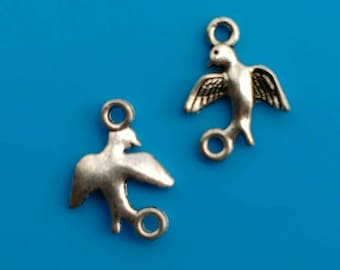 10x bird connectors silver swallow chandeliers 15x11x2mm pendants earring findings 2 holes plated jewellery making diy jewelry supplies UK