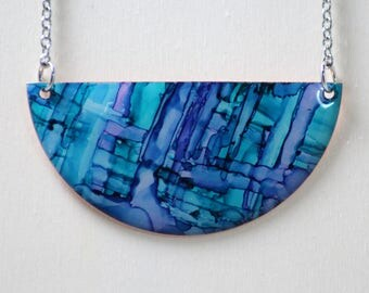 Half Moon Teal & Purple Hand Painted Necklace