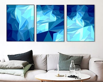 Mid Century Modern Wall Art Navy Blue Wall Art Set Of 3 Prints Abstract  Print Office