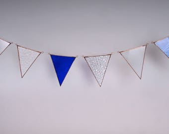 Dark blue textured glass bunting - upcycled leadlight window decor