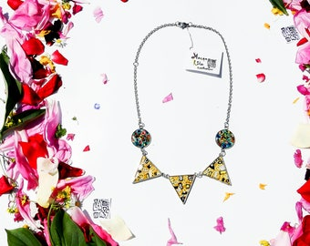 Klimt inspired triangle chain necklace