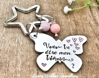 Hand Stamped French Keyring, French Witness Wedding, Témoin Keyring