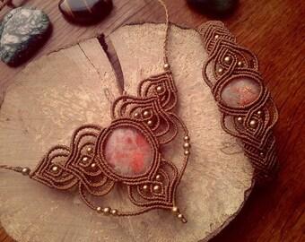 Set the Sunstone macrame Macrame set Sunstone necklace brass beads + brass beads Bracelet