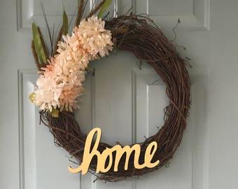 """17"""" Twig Flower Wreath"""