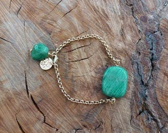 Russian Amazonite and Gold Bracelet