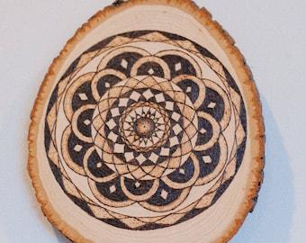 Mandala Pyrography on Wood Round