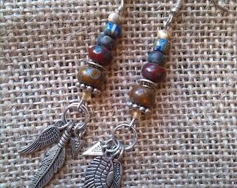 Bohemian, Native American earrings